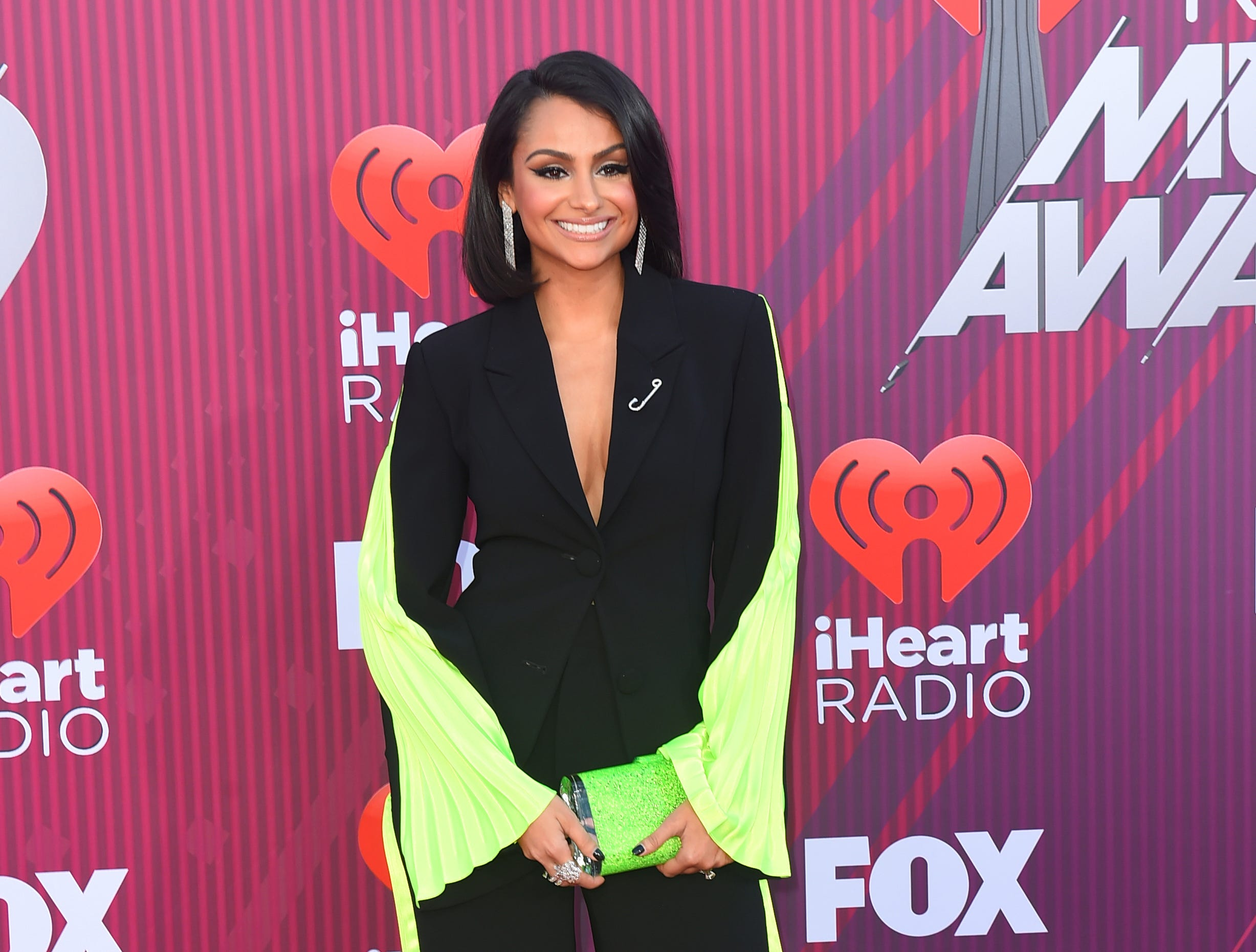 Nazanin Mandi arrives at the iHeartRadio Music Awards.