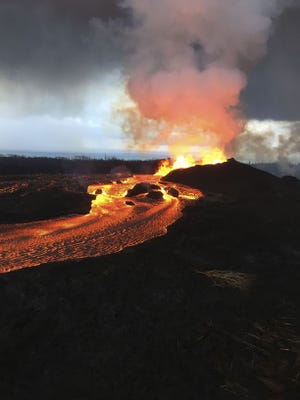 This image obtained from the U.S. Geological Survey shows the Kilauea volcano in Hawaii on June 12, 2018.