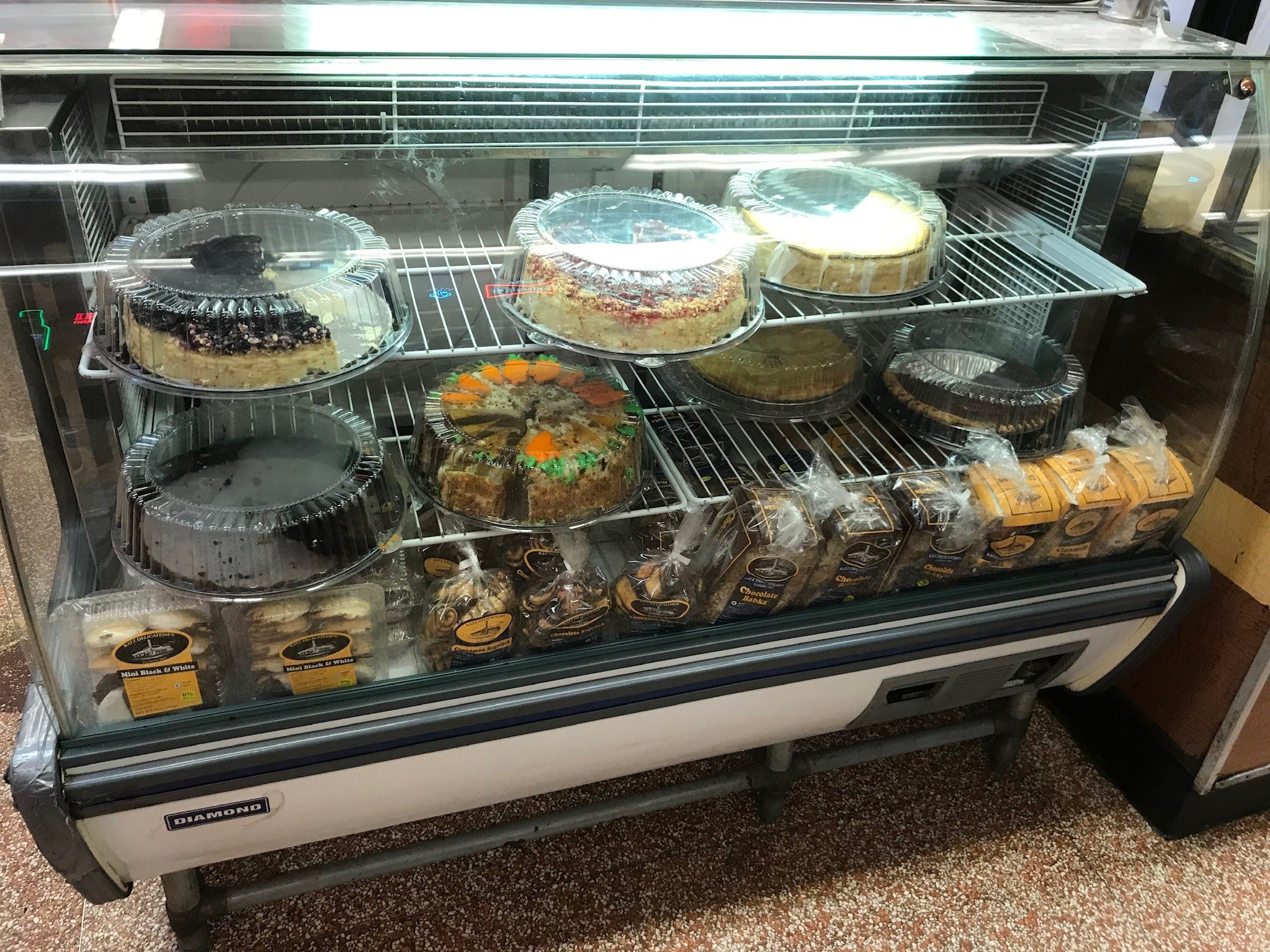 The dessert cooler, with a selection of cheesecake, carrot cake, other pastries and Katz's famous babkas.