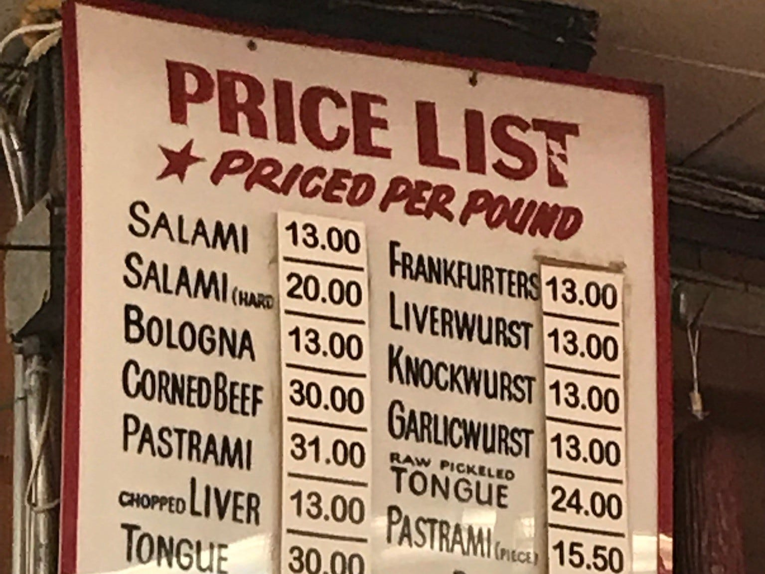 Katz's Deli is best known for its pastrami sandwiches, but also sells a full array of traditional Jewish deli meats and appetizing items to go.