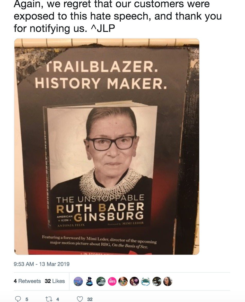 Ruth Bader Ginsburg subway poster vandalized with swastika, NYPD hate crime unit investigating
