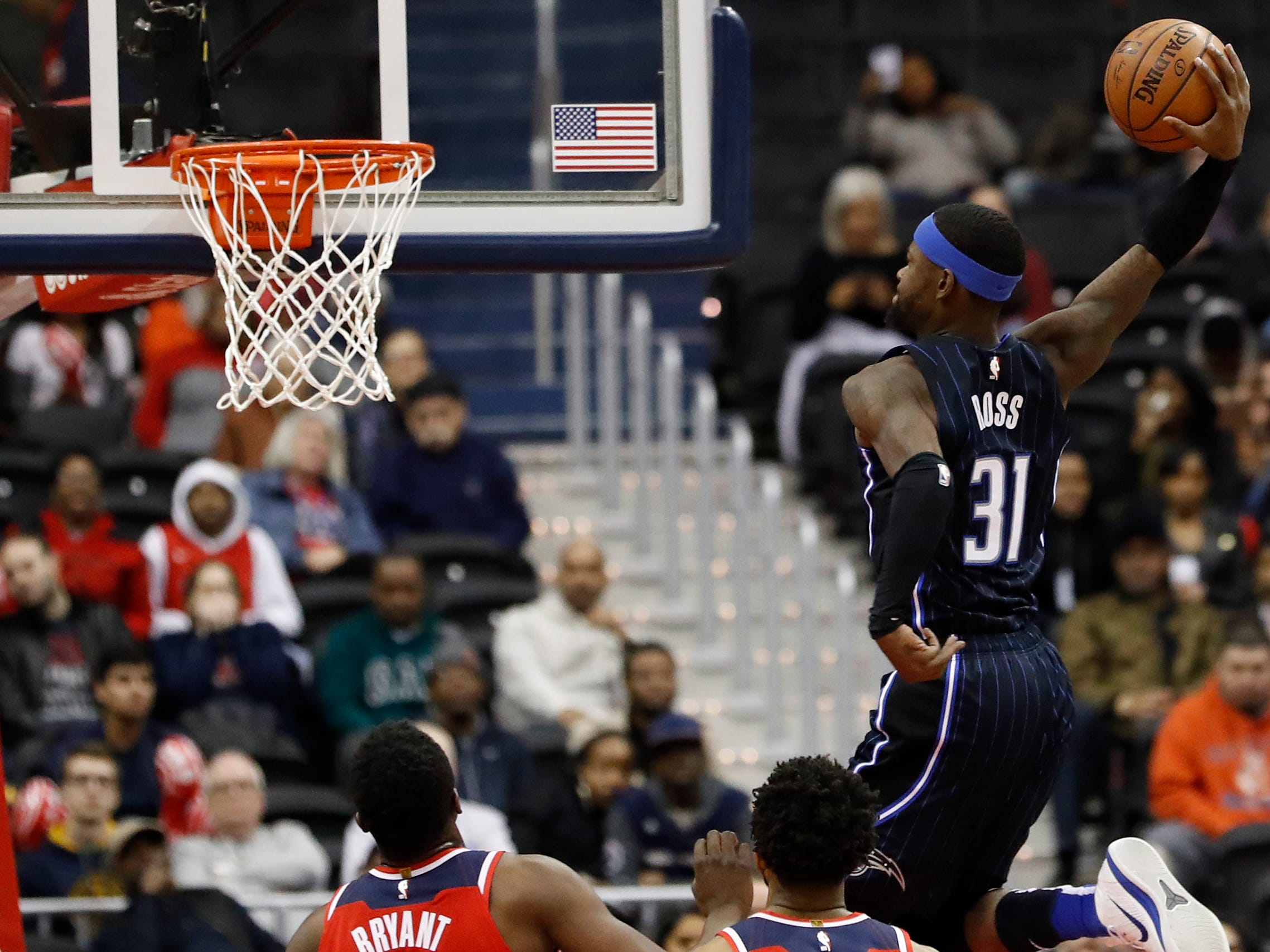 March 13: Orlando Magic guard Terrence Ross dunks the ball against the Washington Wizards in the fourth quarter at Capital One Arena.