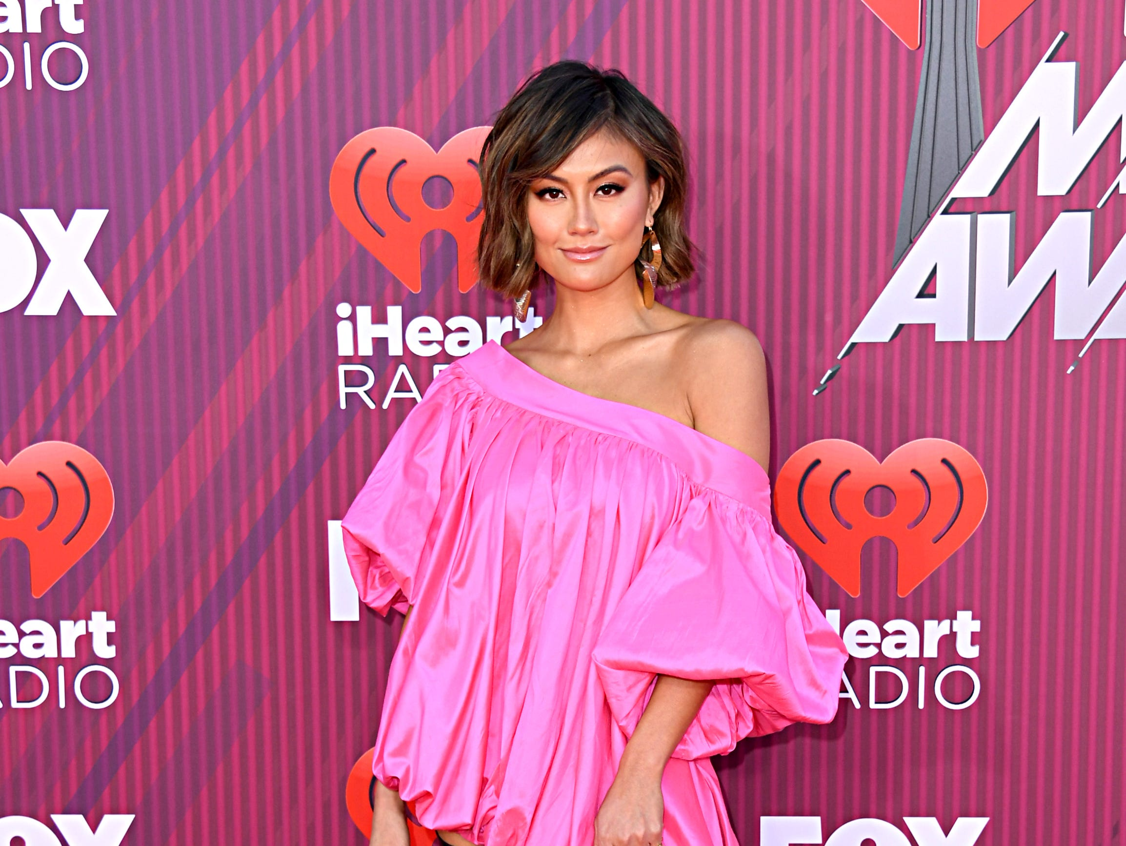Agnez Mo arrives at the iHeartRadio Music Awards.