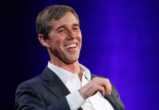 Beto O'Rourke during a live interview with Oprah Winfrey in New York on Feb.5, 2019.