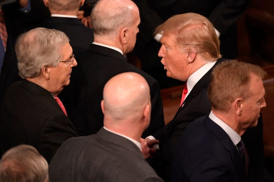 President Donald Trump and Sen. Mitch McConnell, R-Ky., after the State of the Union speech in the U.S.  Capitol in Washington, D.C., Feb. 5, 2019.