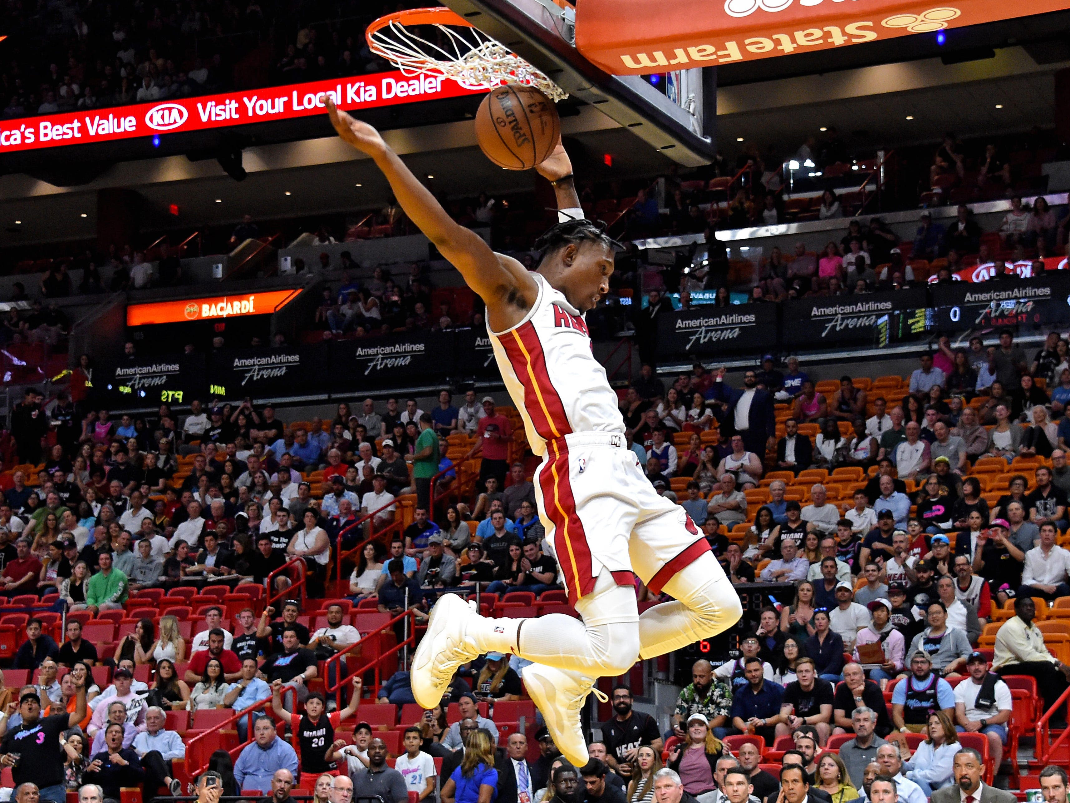 March 13: Miami Heat guard Josh Richardson dunks the ball against the Detroit Pistons during the first half at American Airlines Arena.