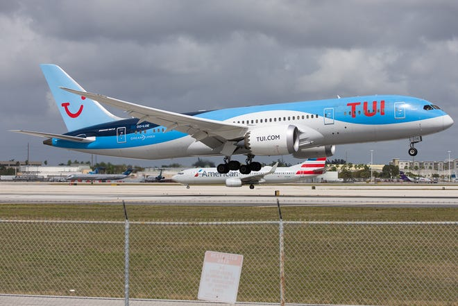 TUI, based in the Netherlands, flies a Boeing 787 to Miami International Airport in February 2019.