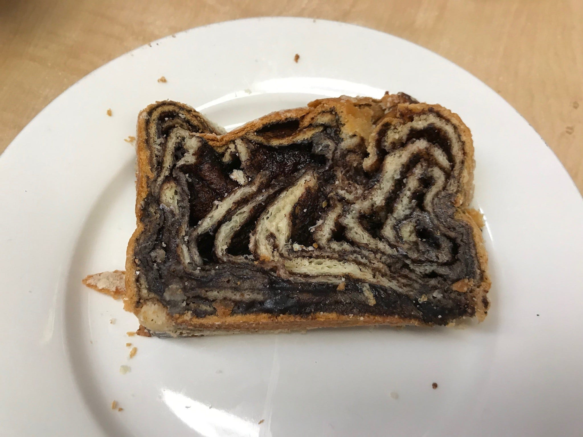 A slice of the famed babka, moist, delicious and packed with chocolate.