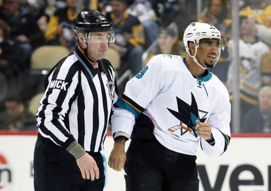Sharks left wing Evander Kane has 27 goals, 24 assists and 149 penalty minutes this season.