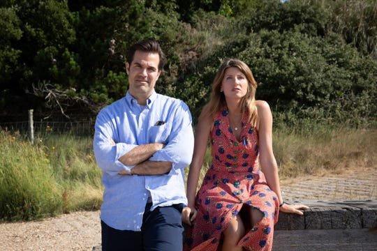 """Rob (Rob Delaney, right) and Sharon (Sharon Horgan) wrestle with becoming new parents yet again at the end of """"Catastrophe."""""""