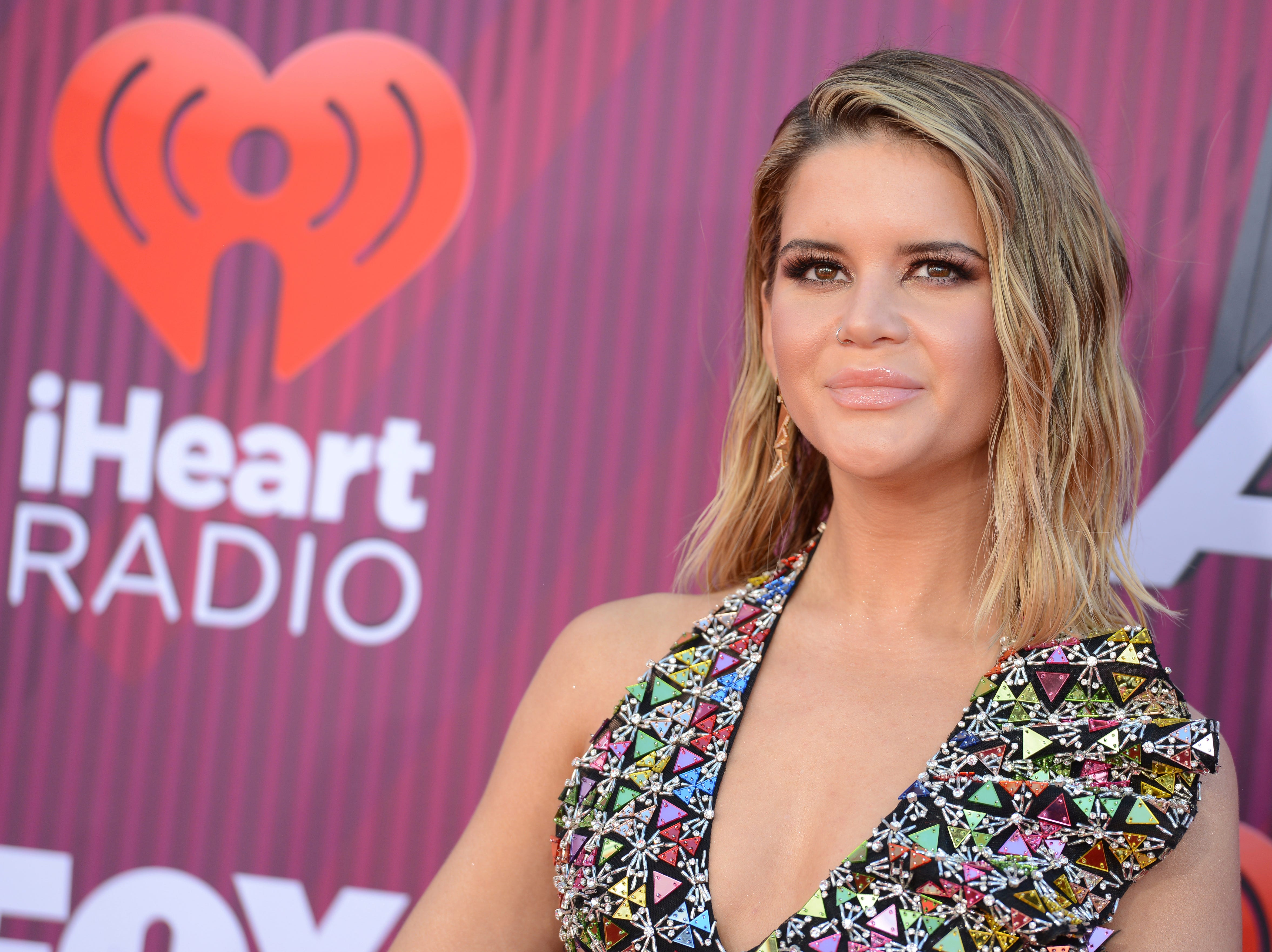 Maren Morris arrives at the iHeartRadio Music Awards.