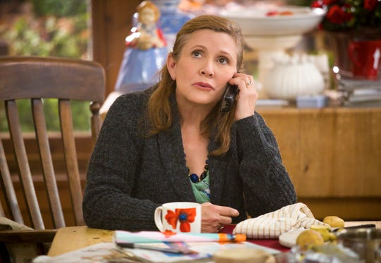 """Carrie Fisher as Mia in the first season of Amazon's """"Catastrophe."""""""