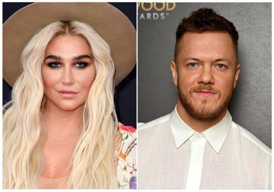Kesha, left, and Dan Reynolds of Imagine Dragons. Kesha will headline the LOVELOUD Festival, the LGBTQ+ event founded by Reynolds.