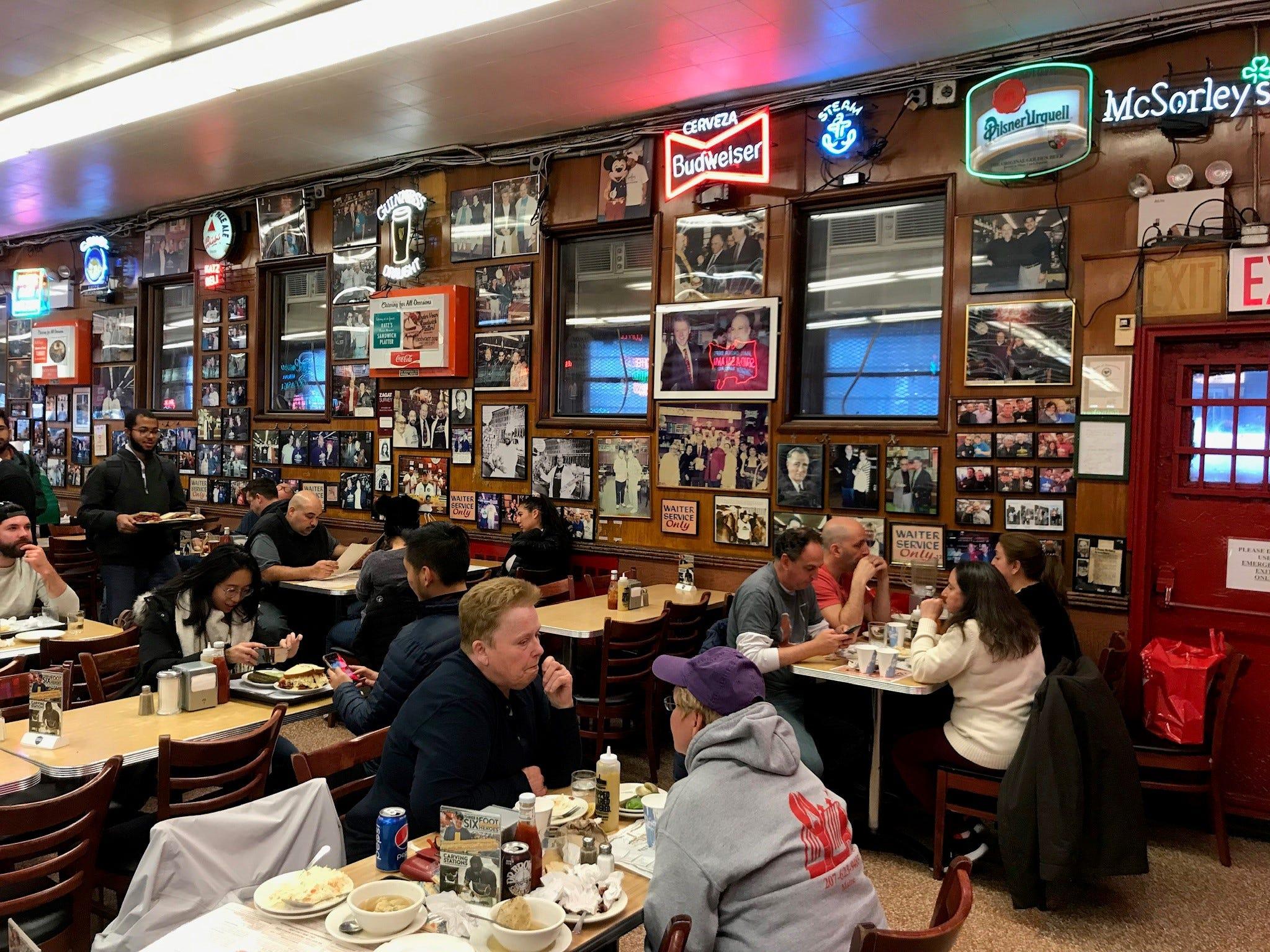 The cavernous main dining room at Katz's Delicatessen.