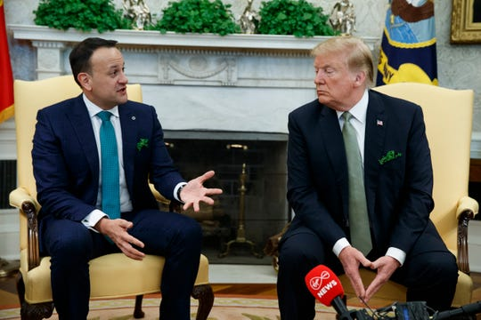President Donald Trump and Irish Prime Minister Leo Varadkar visit in the Oval Office at the White House in Washington, D.C., March 14, 2019.
