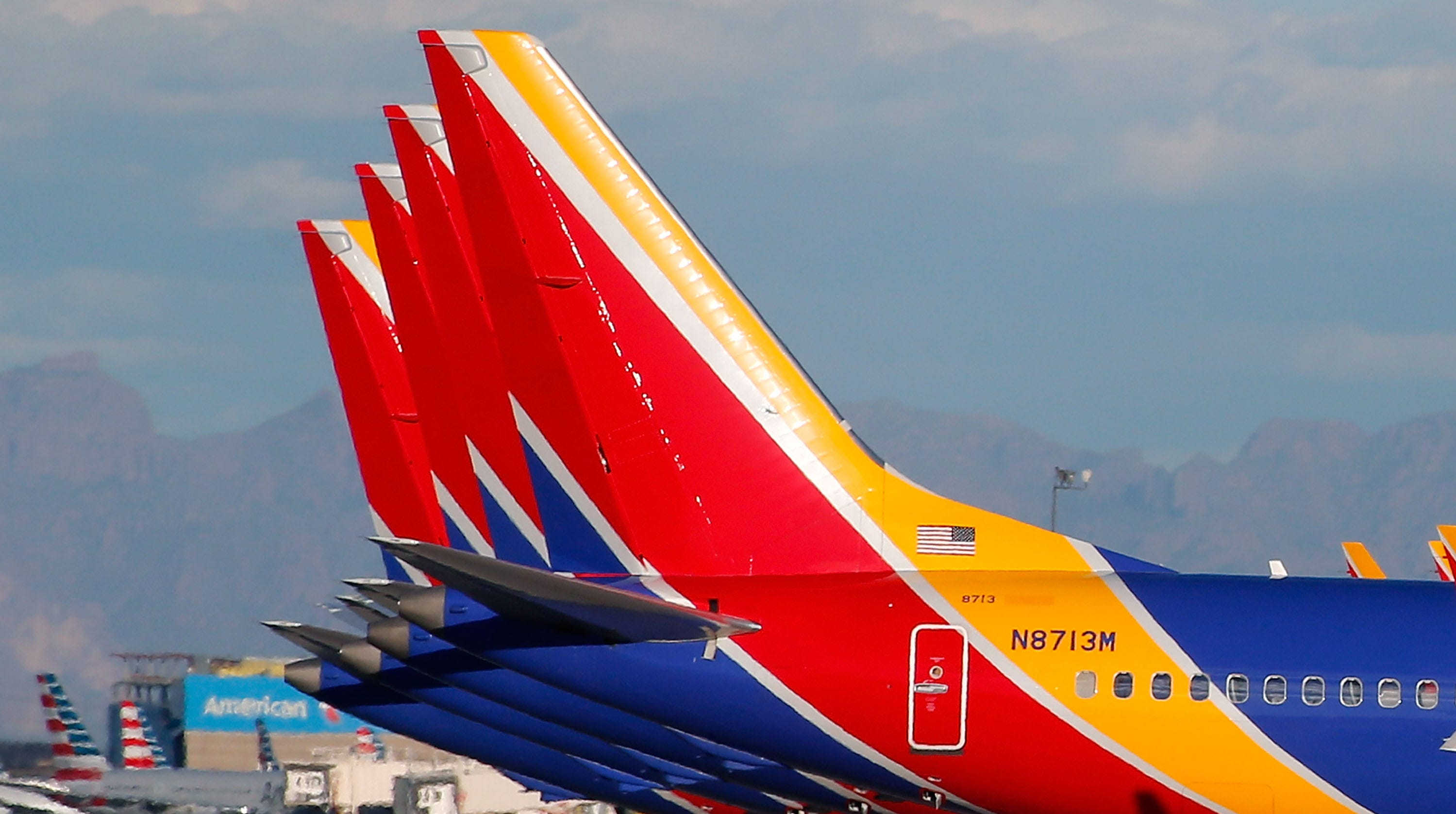 A group of Southwest Airlines Boeing 737 MAX 8 aircraft sit on the tarmac at Phoenix Sky Harbor International Airport on March 13, 2019 in Phoenix, Arizona. The United States has followed countries around the world and has grounded all Boeing 737 Max 8 aircraft following the crash of an Ethiopia Airlines 737 Max 8.