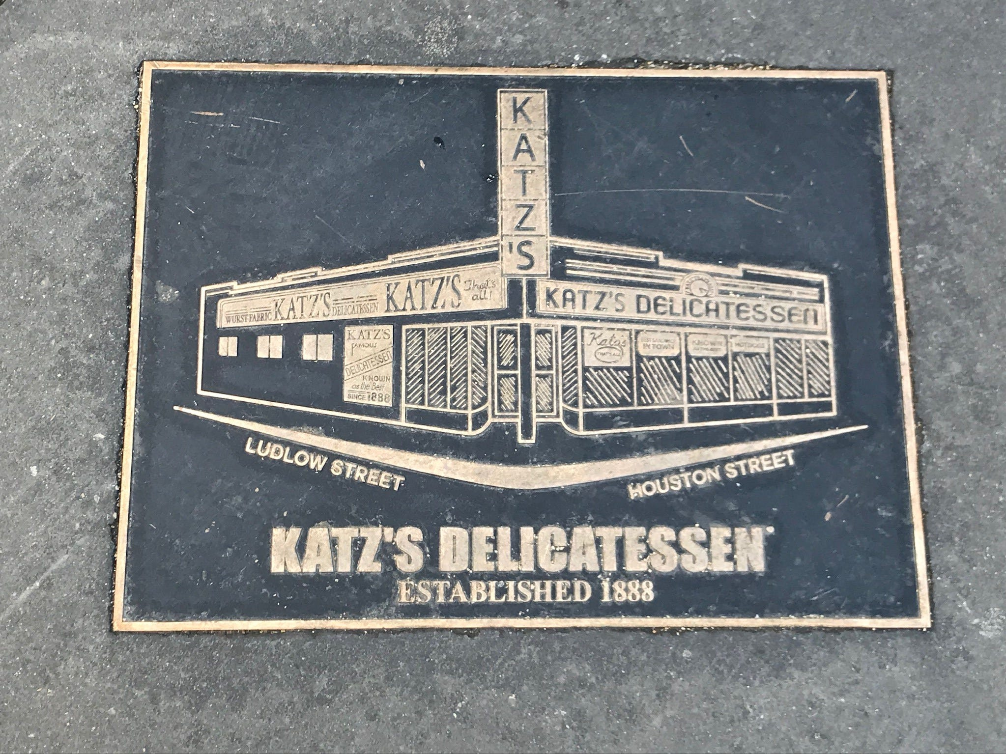 Katz's is so famous and historic it even warrants its own sidewalk plaque.