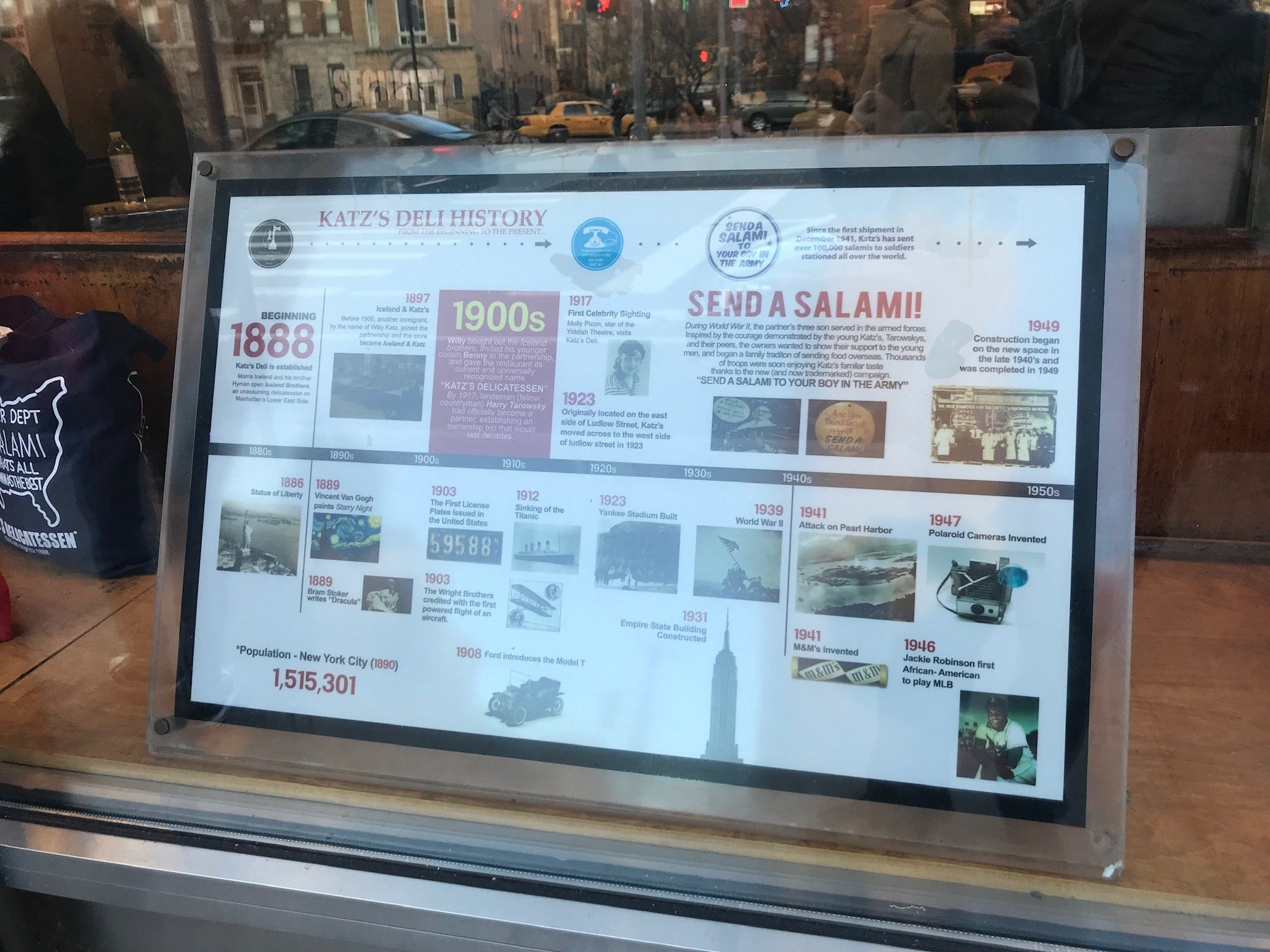 Katz's enjoys a long and rich history, which is captured in signage, memorabilia and displays like this timeline in the front window.