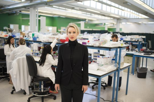 "Elizabeth Holmes at Theranos' labs, in a still from HBO's ""The Inventor: Out for Blood in Silicon Valley."""