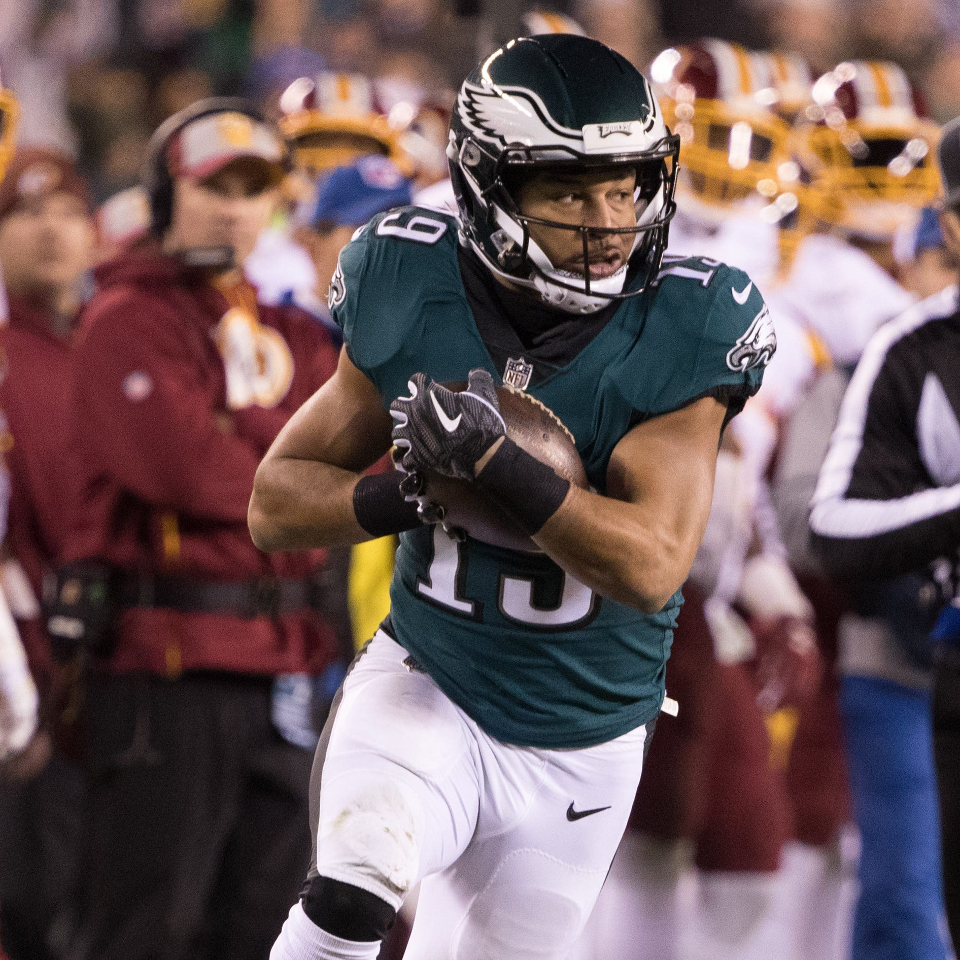 Philadelphia Eagles wide receiver Golden Tate (19) makes a reception against the Washington Redskins at Lincoln Financial Field.