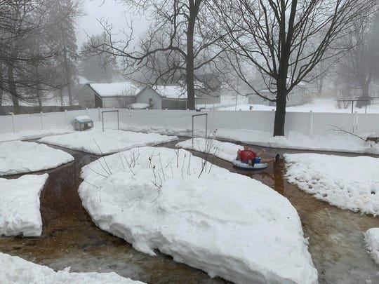 Randy Spiehs of Barron has worked for weeks to construct a lazy river in his yard.