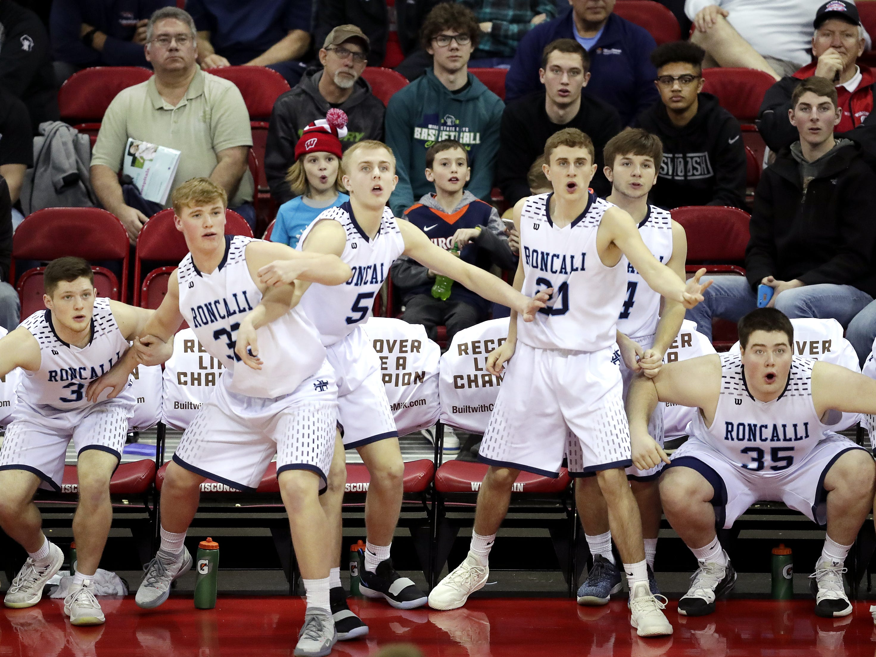 Roncalli High School against New Glarus High School during their WIAA Division 4 boys basketball state semifinal on Thursday, March 14, 2019, at the KohlCenter in Madison, Wis.  New Glarus defeated Roncalli 44 to 41. Wm. Glasheen/USA TODAY NETWORK-Wisconsin.