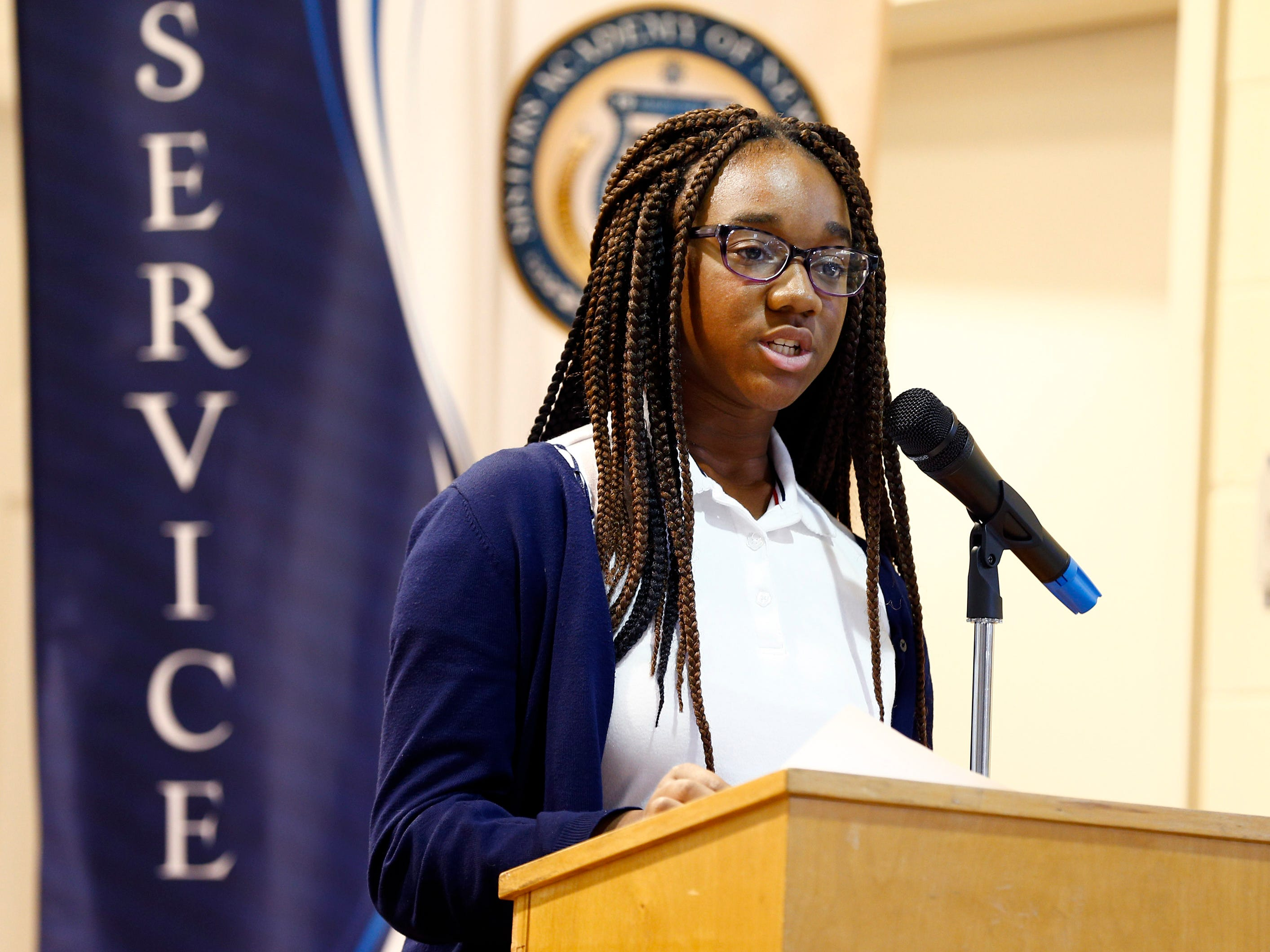 Sisters Academy 8th grader Stephanie Reyes performs her core knowledge speech during the 8th Annual Miller Speaking Contest at the Asbury Park school Thursday, March 14, 2019.
