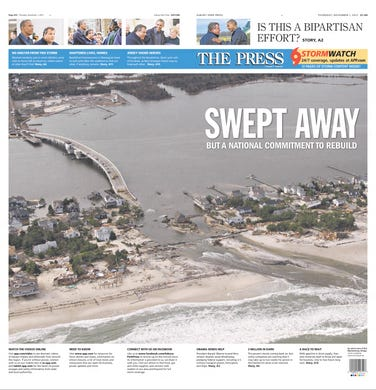 Asbury Park Press with Mantoloking in ruins on the cover of the Thursday, Nov. 1, 2012 edition.