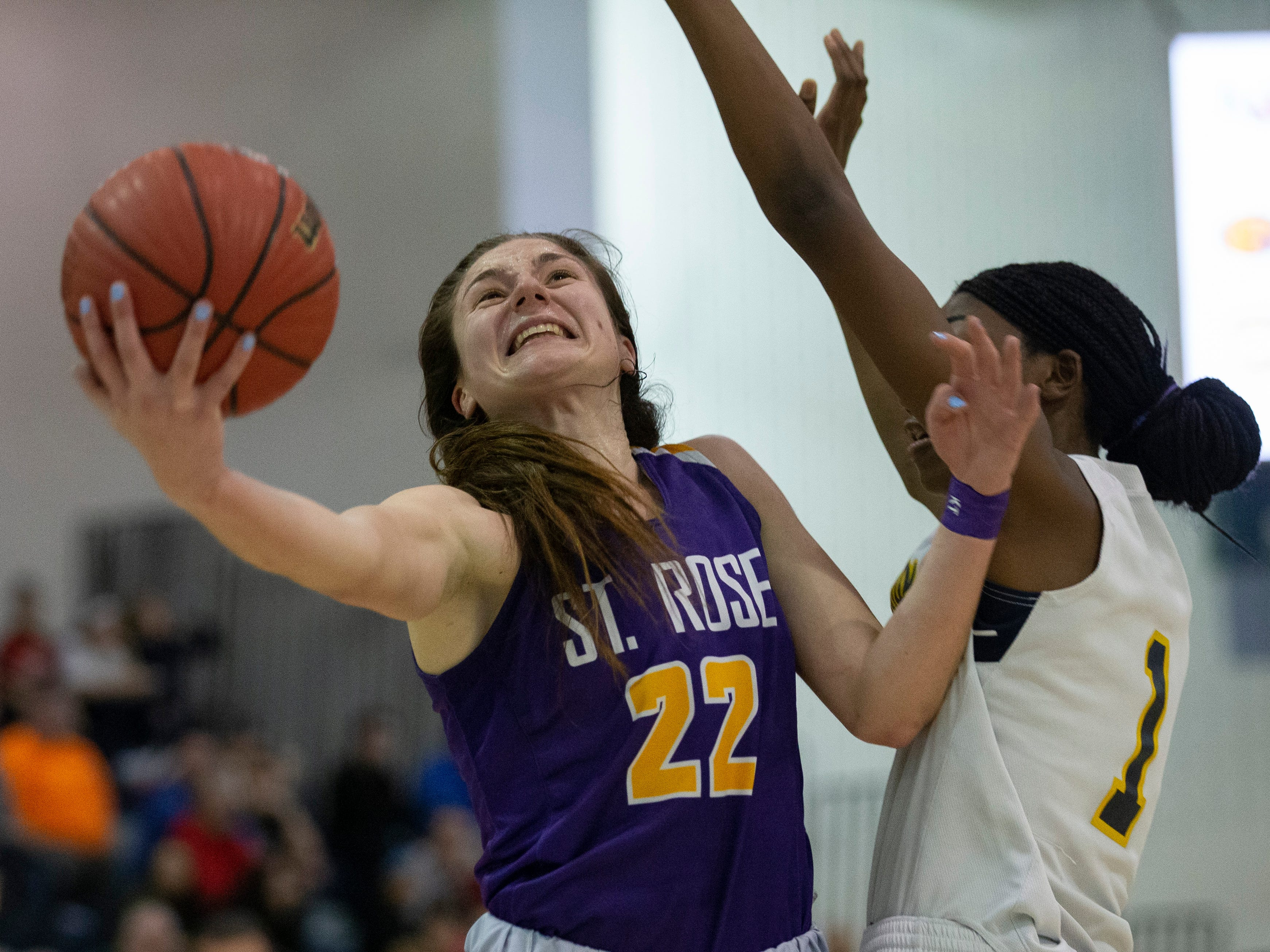 Brynn Farrell, St. Rose drives to the basket.  St Rose Girls Basketball vs Franklin High School in NJSIAA Tournament of Champions Semifinal in Toms River on March 14, 2019.