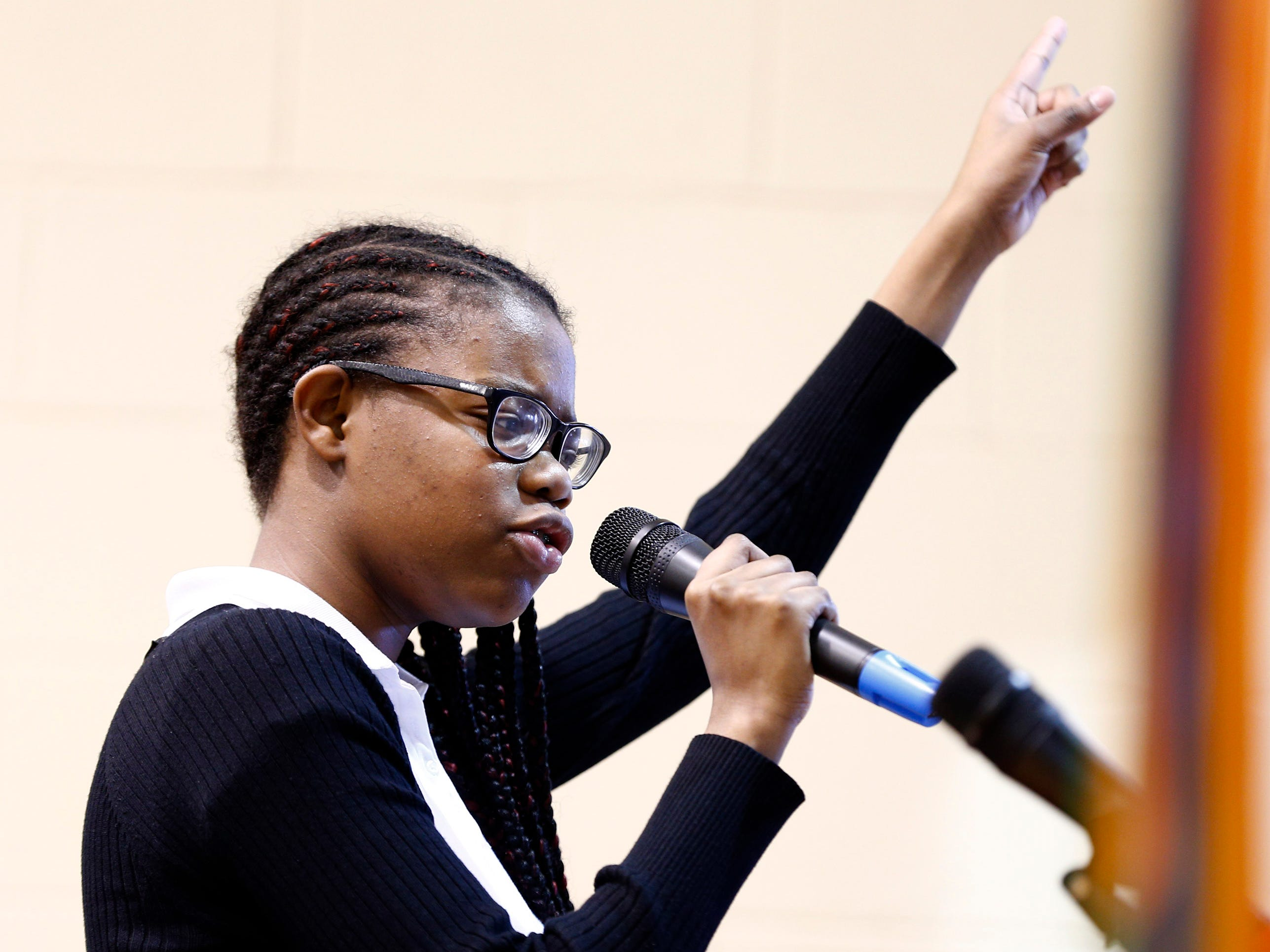 Sisters Academy 8th grader Abiggaele Blanc performs her core knowledge speech during the 8th Annual Miller Speaking Contest at the Asbury Park school Thursday, March 14, 2019.