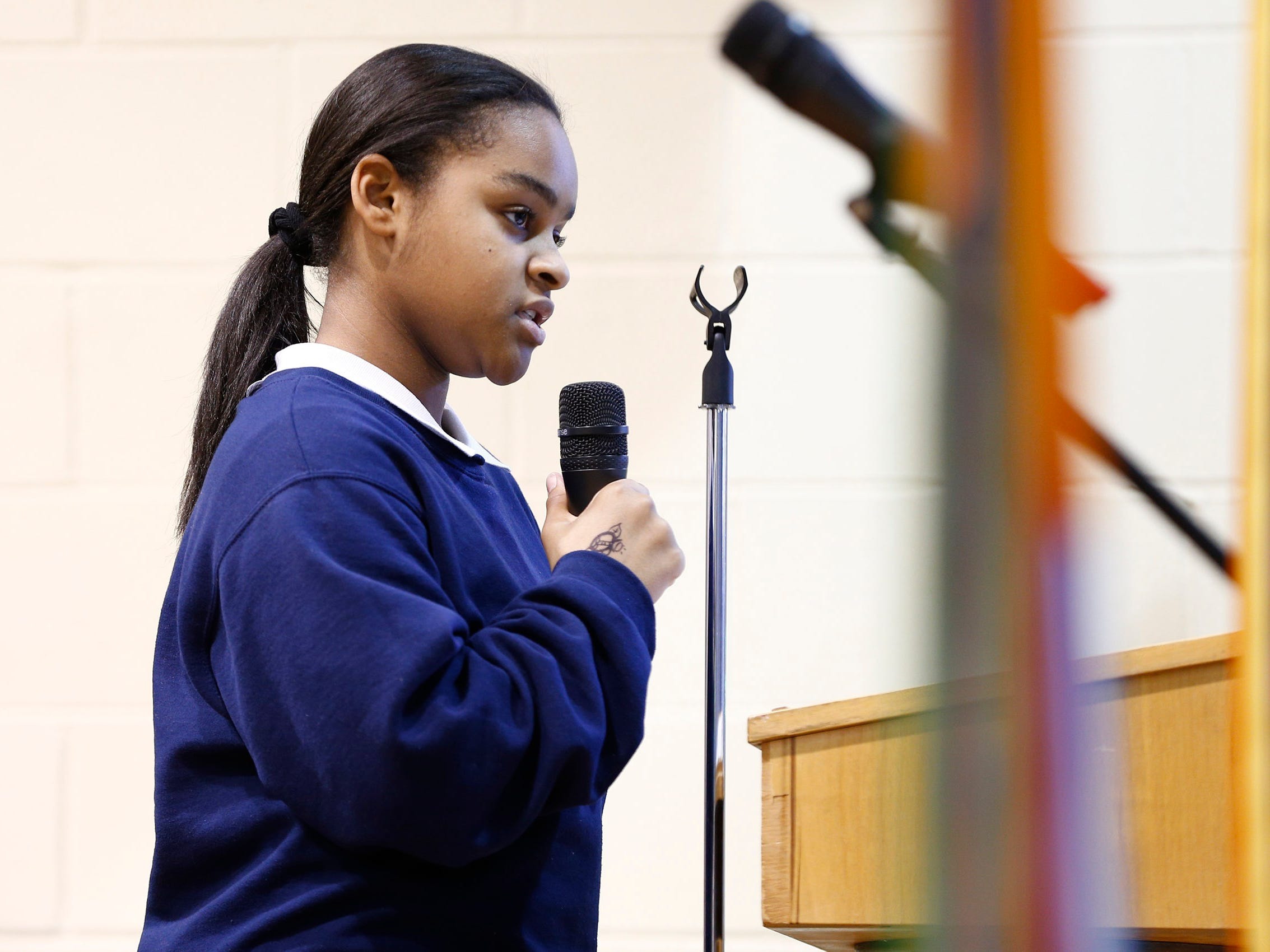Sisters Academy 7th grader Mikayla Redway performs her persuasive essay during the 8th Annual Miller Speaking Contest at the Asbury Park school Thursday, March 14, 2019.