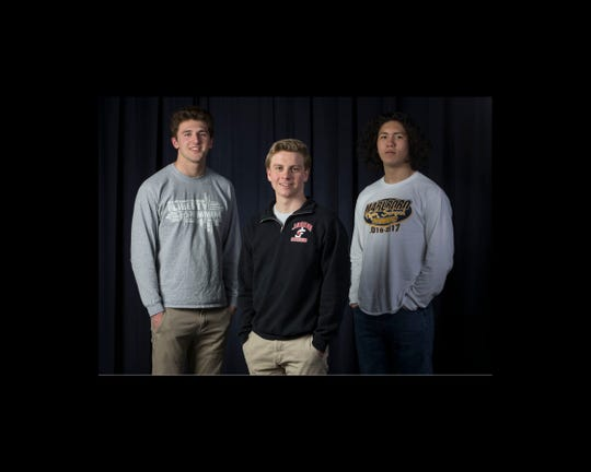 The 2019 All-Shore Boys Swim Team- Johnny Nutt of Jackson Liberty, Patrick Idank of Jackson Memorial, and Leonardo Carnevale of Marlboro.  