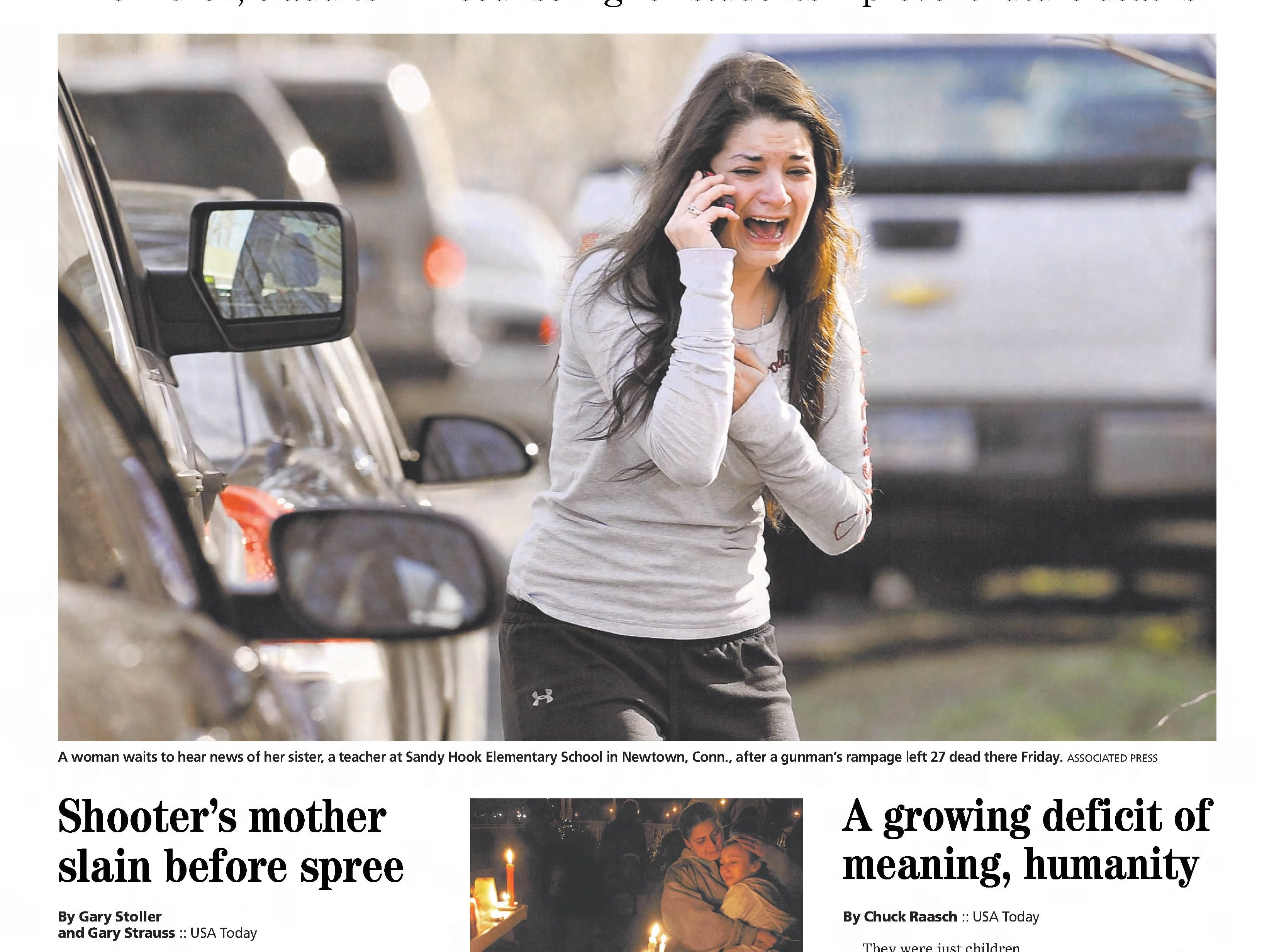 """Twenty children between the ages of six and seven years old, and six educators at Sandy Hook Elementary School in Newtown, Connecticut, are murdered in their classrooms by a lone gunman. In this edition from Saturday, Dec. 15, 2012, the Asbury Park Press asks """"When Will It Stop?"""" Over the course of the decade, the nation has been terrorized and sickened by a continuing series of random mass shootings perpetrated by loners at schools, offices and other public places; the American people are collectively unable to agree what to do about it."""