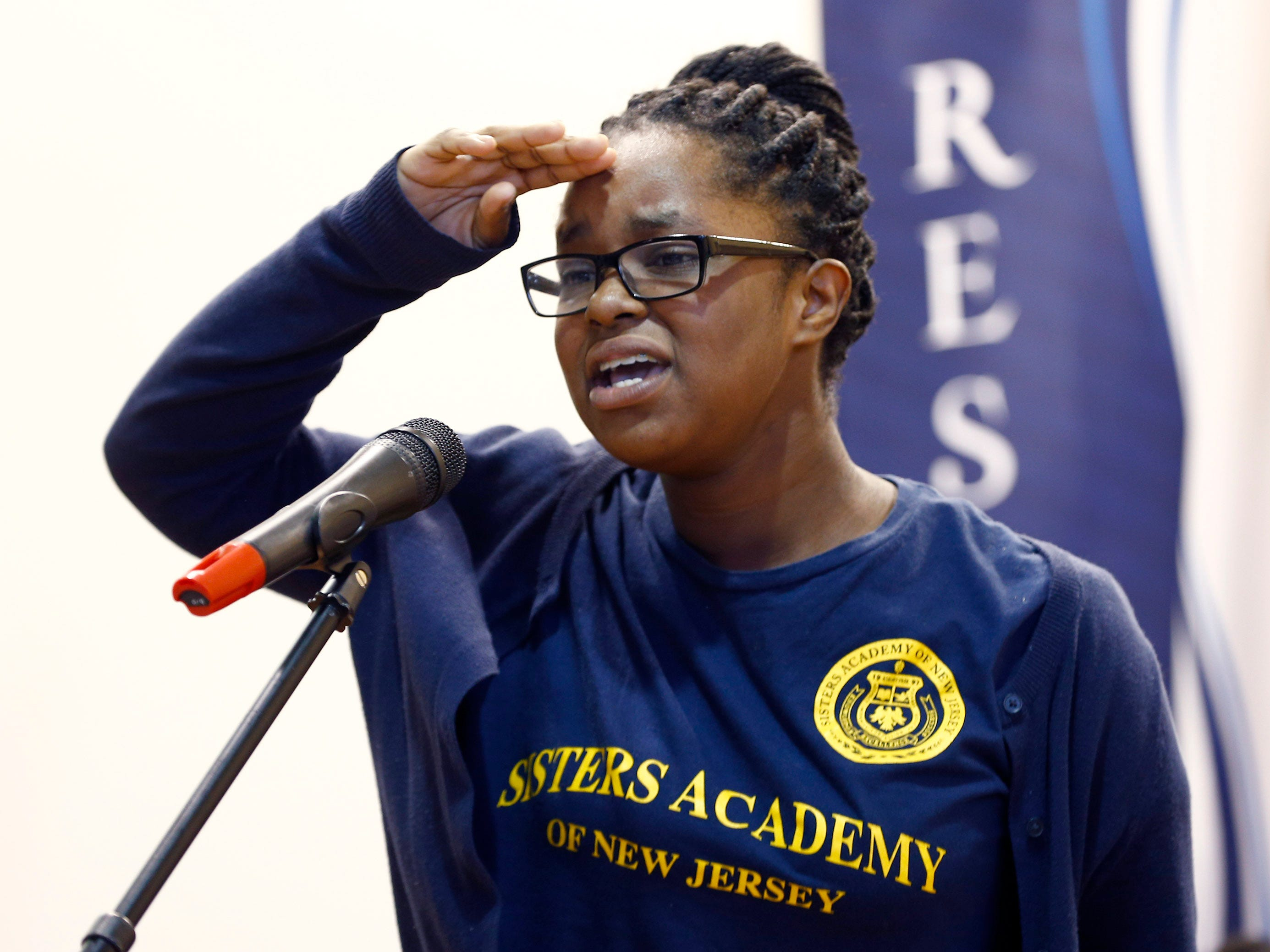 Sisters Academy 6th grader Rebecca Limage performs during the 8th Annual Miller Speaking Contest at the Asbury Park school Thursday, March 14, 2019.