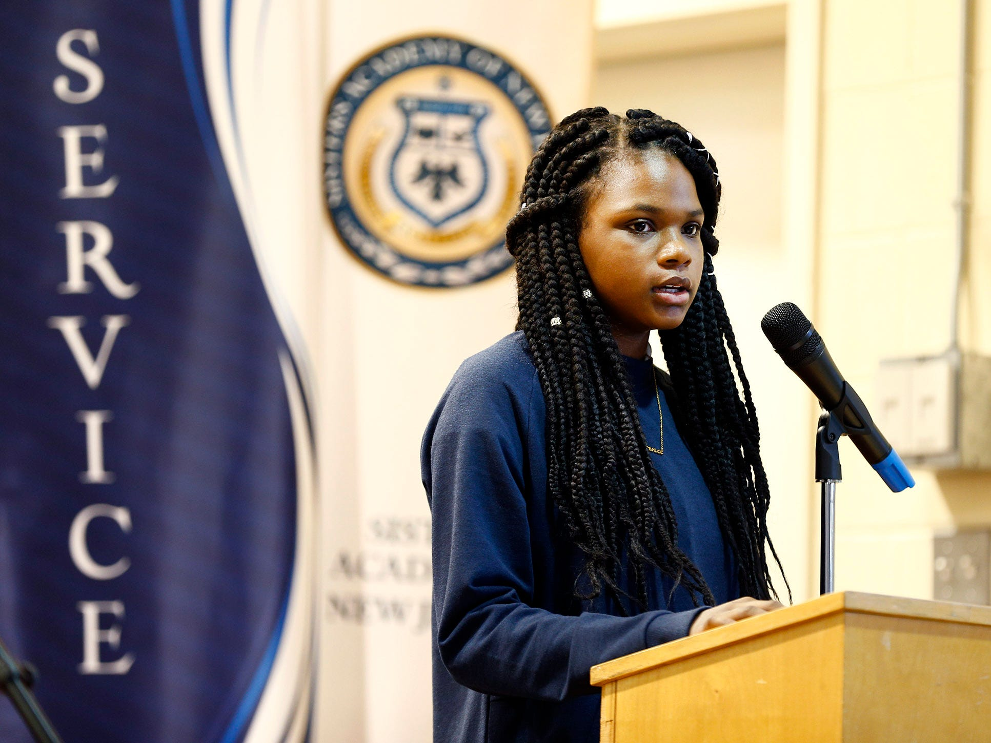 Sisters Academy 7th grader Giana Reevey performs her persuasive essay during the 8th Annual Miller Speaking Contest at the Asbury Park school Thursday, March 14, 2019.