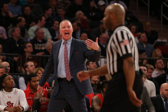 Mar 14, 2019; New York, NY, USA; St. John's Red Storm head coach Chris Mullin reacts towards an official as he coaches against the Marquette Golden Eagles during the first half of a quarterfinal game of the Big East conference tournament at Madison Square Garden. Mandatory Credit: Brad Penner-USA TODAY Sports