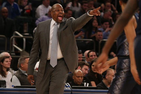 Georgetown Hoyas head coach Patrick Ewing coaches against the Seton Hall
