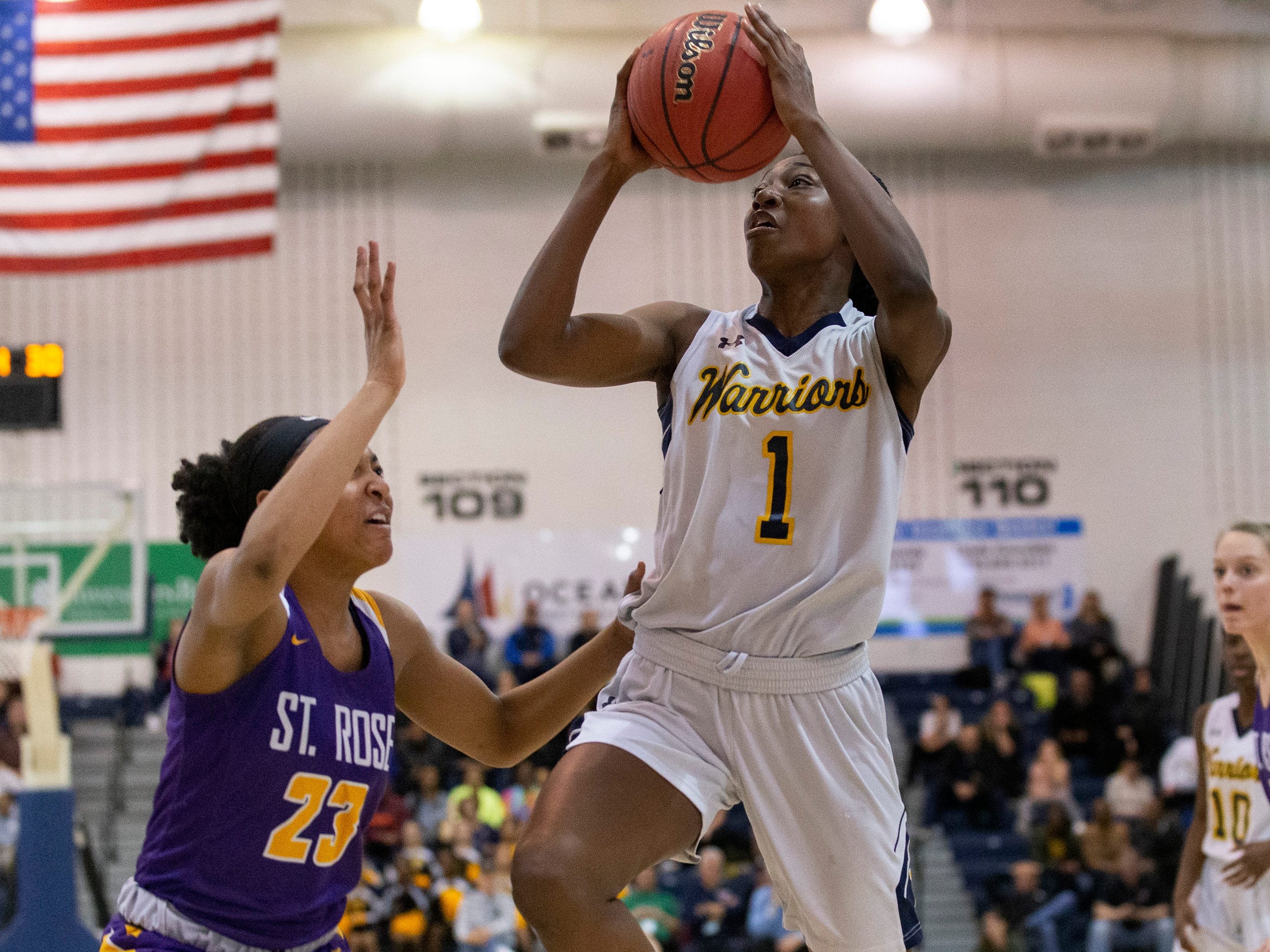 Diamond Miller, Franklin goes up with first half shot. St Rose Girls Basketball vs Franklin High School in NJSIAA Tournament of Champions Semifinal in Toms River on March 14, 2019.