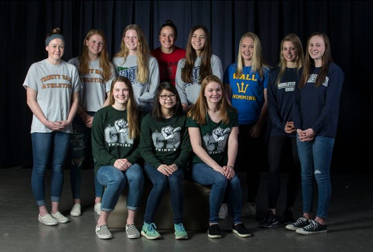 The 2019 All-Shore Girls Swim Team- Seated in front are: Megan Judge, Arabella Lee, and Emma Shaughnessy, all of Colts Neck. Back from left to right are: Madeline Condon of Trinity Hall, Caroline Gulka of Trinity Hall, Shannon Judge of Colts Neck, Alexandra Ritorto of Ocean, Ashleigh Anzevino of Colts Neck, Grace Kayal of Wall, Victoria Ireland of Middletown South, and Sarah Eldridge of Manasqaun.