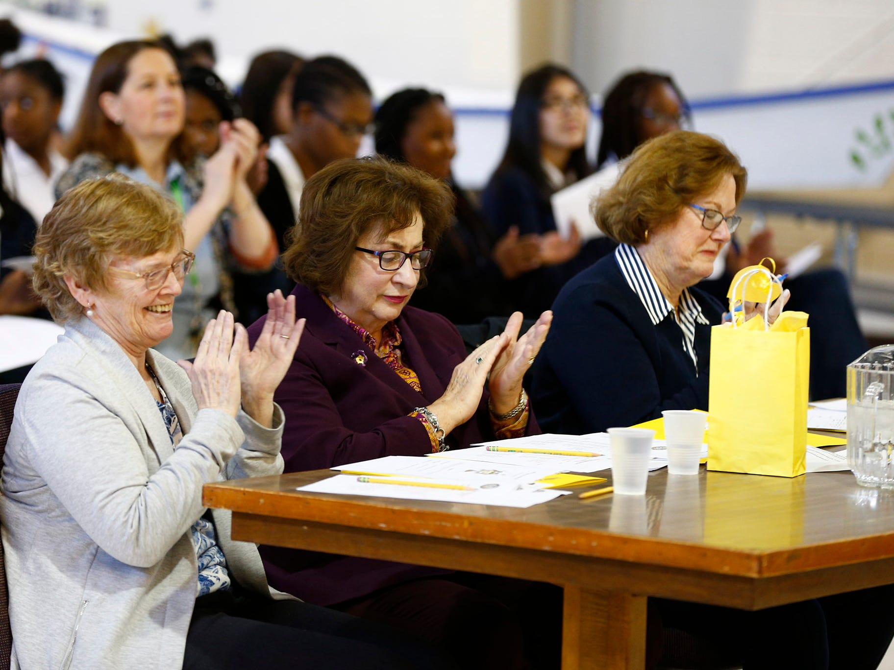Judges applaud during the 8th Annual Miller Speaking Contest at the Sisters Academy in Asbury Park school Thursday, March 14, 2019.