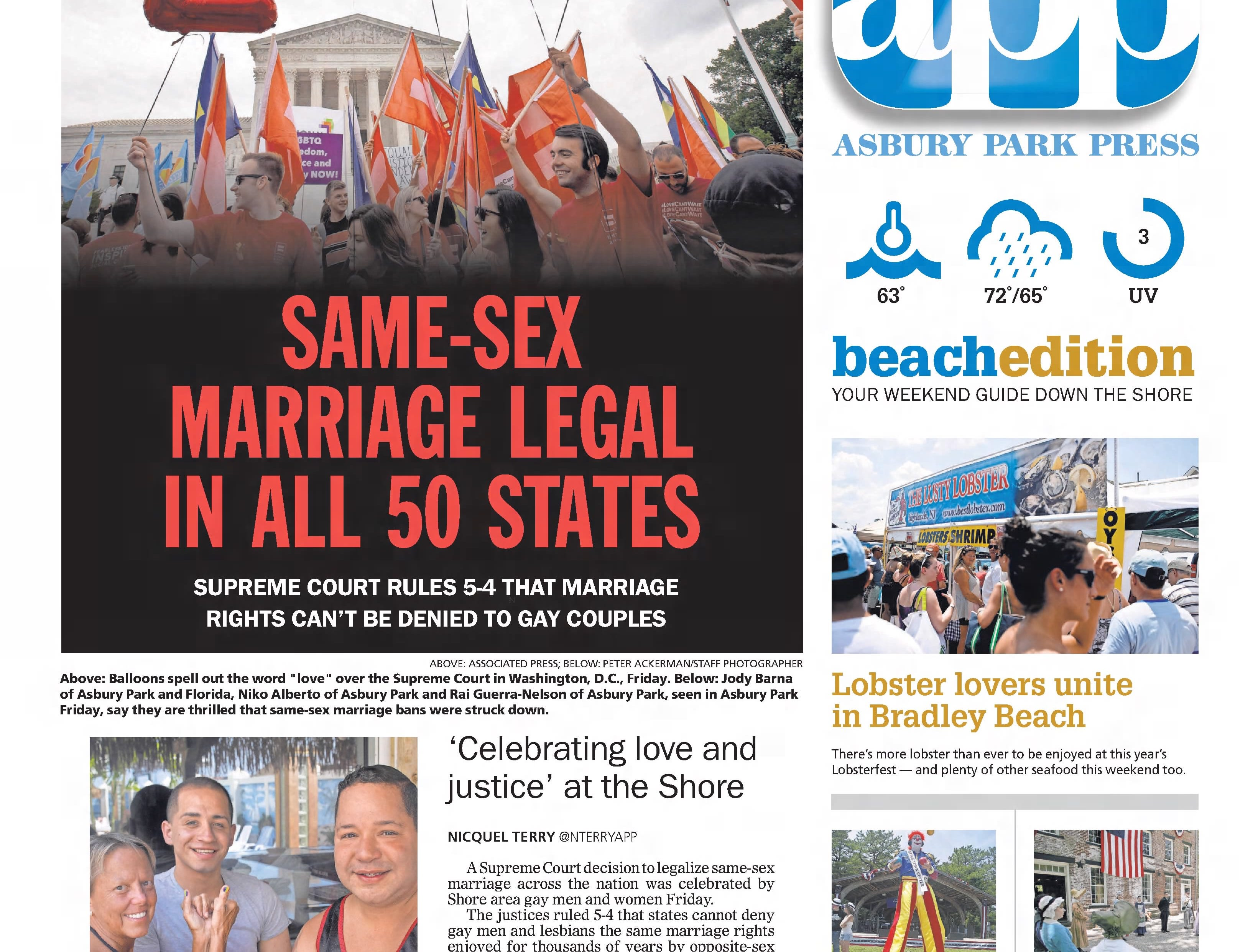 The U.S. Supreme Court legalizes same-sex marriage in all 50 states in this edition from Saturday, June 27, 2015.