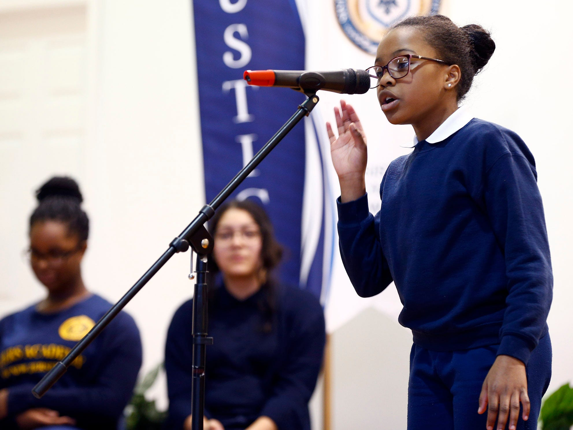 Sisters Academy 6th grader Abirah Napoleon performs during the 8th Annual Miller Speaking Contest at the Asbury Park school Thursday, March 14, 2019.