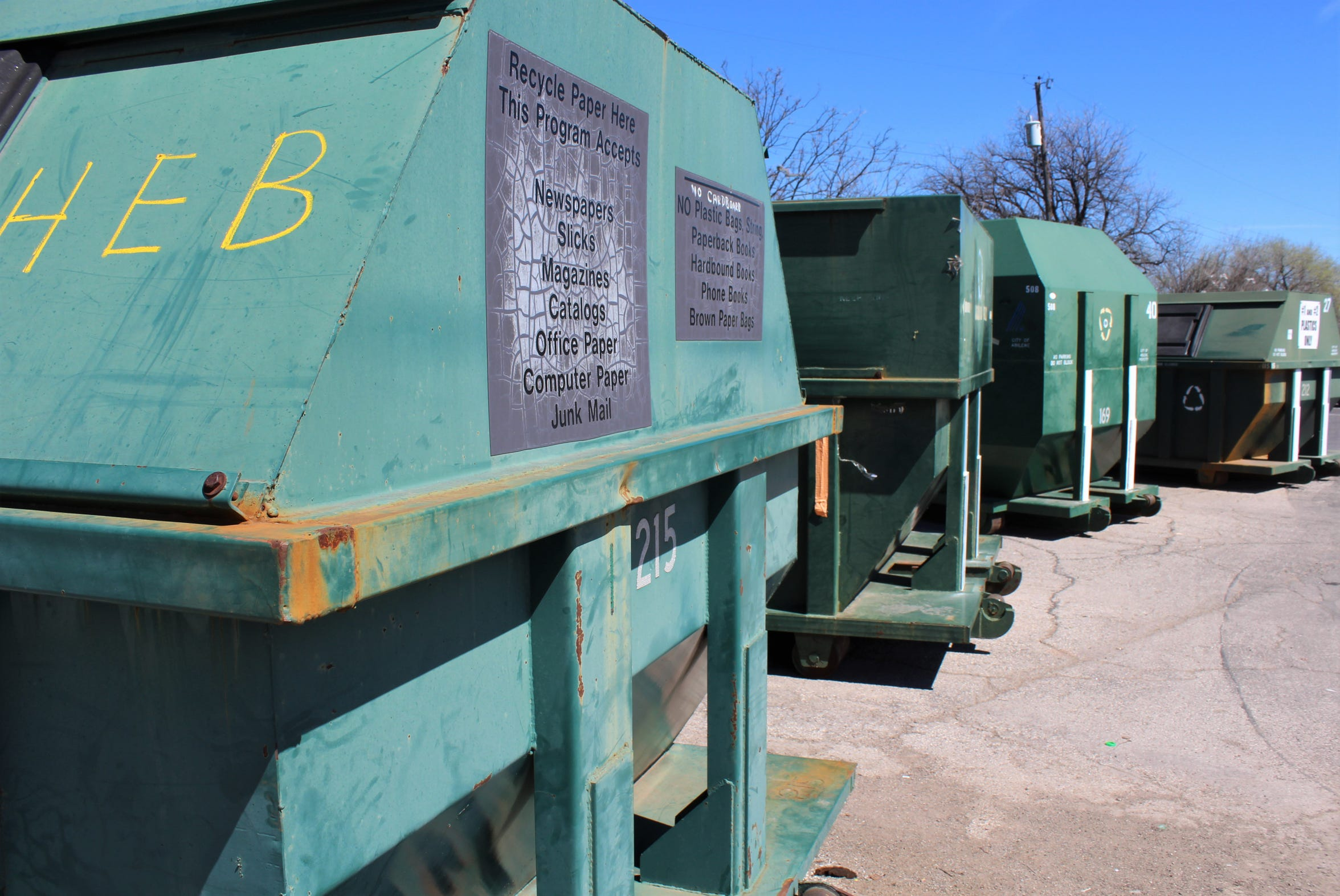 Paper, cardboard and plastic collection containers are available at nine Abilene neighborhood recycling centers.