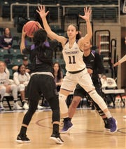 ACU's Sara Williamson (11) defends against a Central Arkansas player. ​