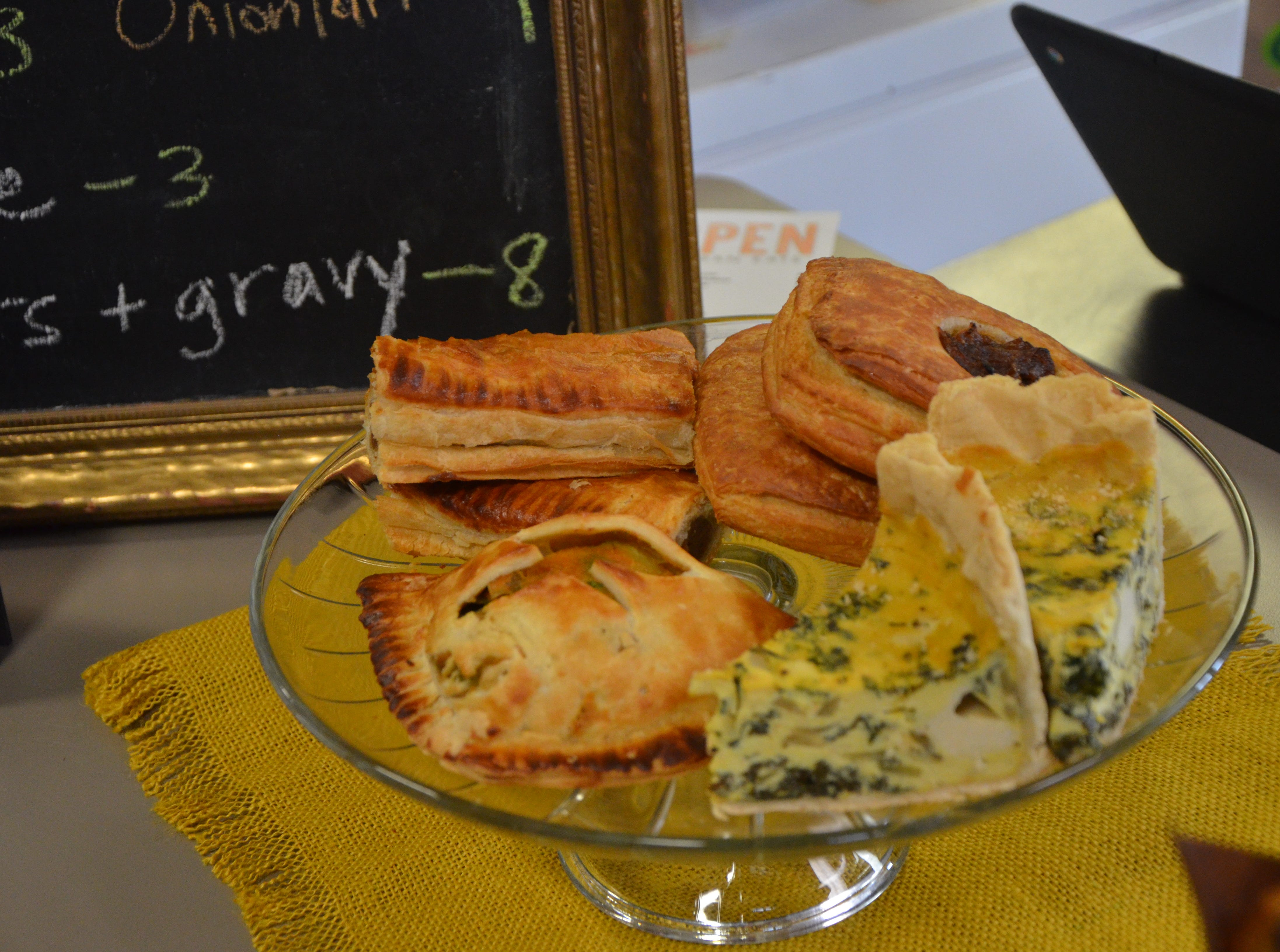 Among the savory vegan pastries customers can find at the Pop-up Patisserie at Sprout Grocery + Kitchen, 503 Military Road, are onion tarts, quiches, sweet potato and brussel sprout hand pies and pigs-in-a-blanket.