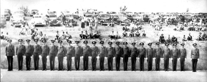 Fraternal Order of Eagles Bremerton Aerie 192 Drill Team stands in review in the mid-1940s. This and the Ladies Auxiliary Drill Team were fixtures on the summer parade circuit for many years. If you can identify anyone in this photo, please contact the Kitsap County Historical Society Museum. To see more, visit facebook.com/kitsaphistory, kitsapmuseum.org, or stop by the museum at 280 Fourth St. in Bremerton. Call 360-479-6226 for information.