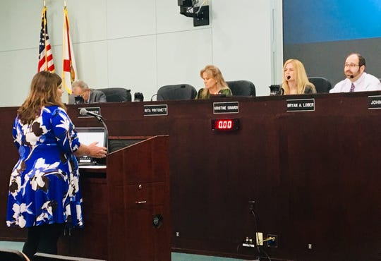 Brevard County Democratic Party Chair Stacey Patel addresses the Brevard County Commission on Tuesday. On the dais, from left, are County Manager Frank Abbate, Commissioner Rita Pritchett, Chair Kristine Isnardi and Vice Chair Bryan Lober.