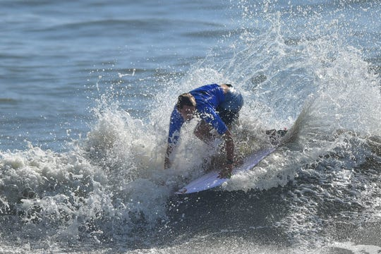 Crosby Colapinto of California advances Friday at the Beach 'N Boards Fest in Cocoa Beach.