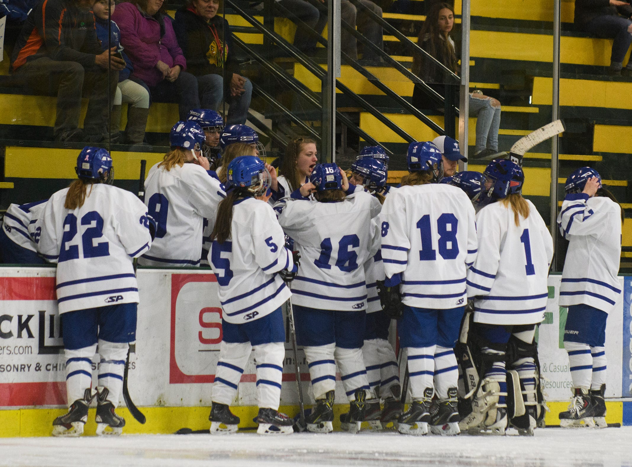 Missisquoi huddles together during the DII girls hockey championship game between the Woodstock Wasps and the Missisquoi Thunderbirds at Gutterson Field House on Thursday night March 14, 2019 in Burlington, Vermont.