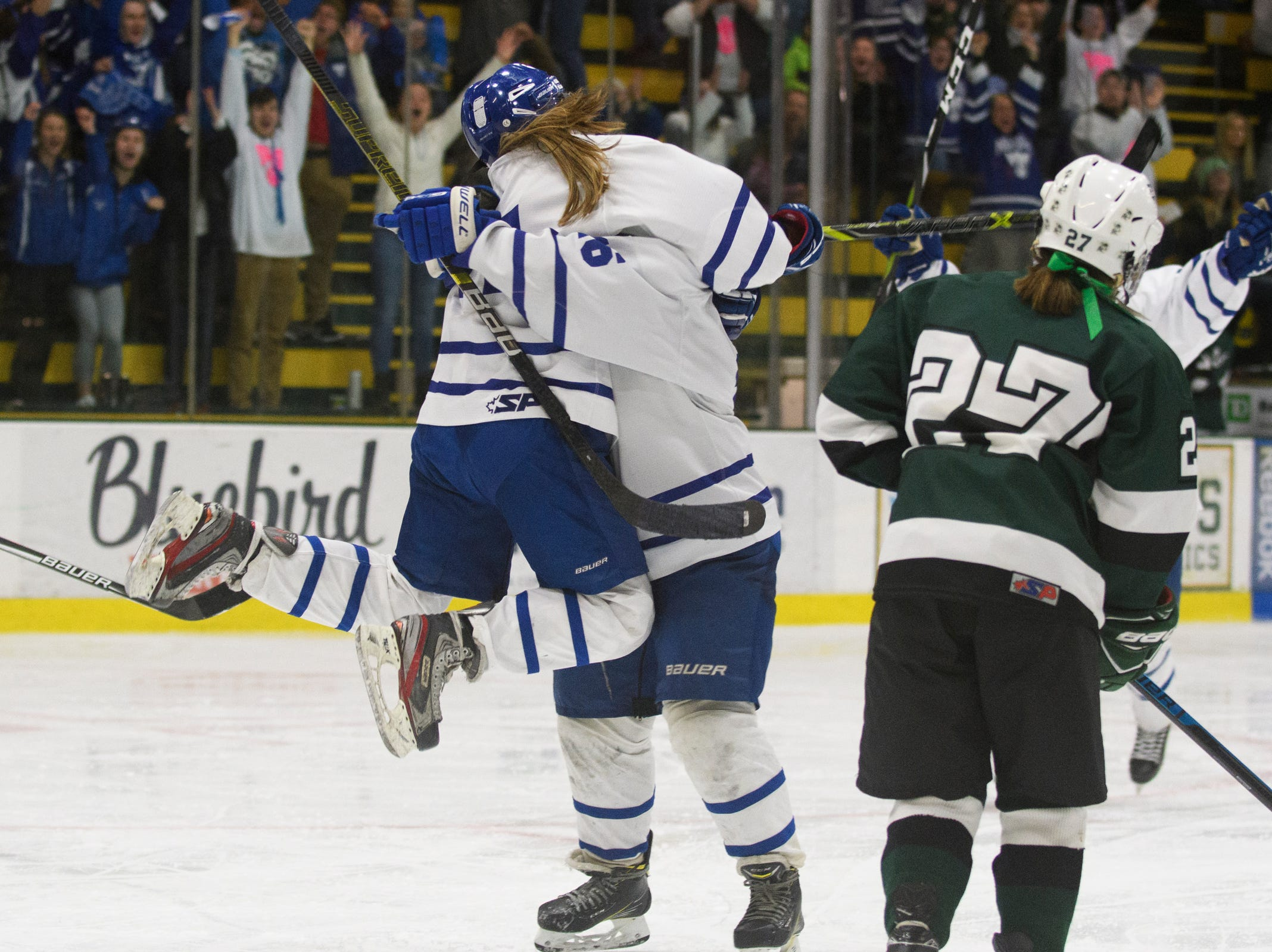 Missisquoi celebrates a goal during the DII girls hockey championship game between the Woodstock Wasps and the Missisquoi Thunderbirds at Gutterson Field House on Thursday night March 14, 2019 in Burlington, Vermont.
